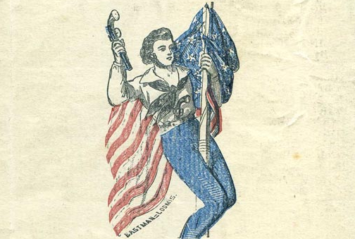 illustration of man with gun hanging from flag pole